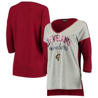 Cleveland Cavaliers Women's Meet Your Match Colorblock 3/4-Sleeve Tri-Blend V-Neck T-Shirt - Heathered Gray