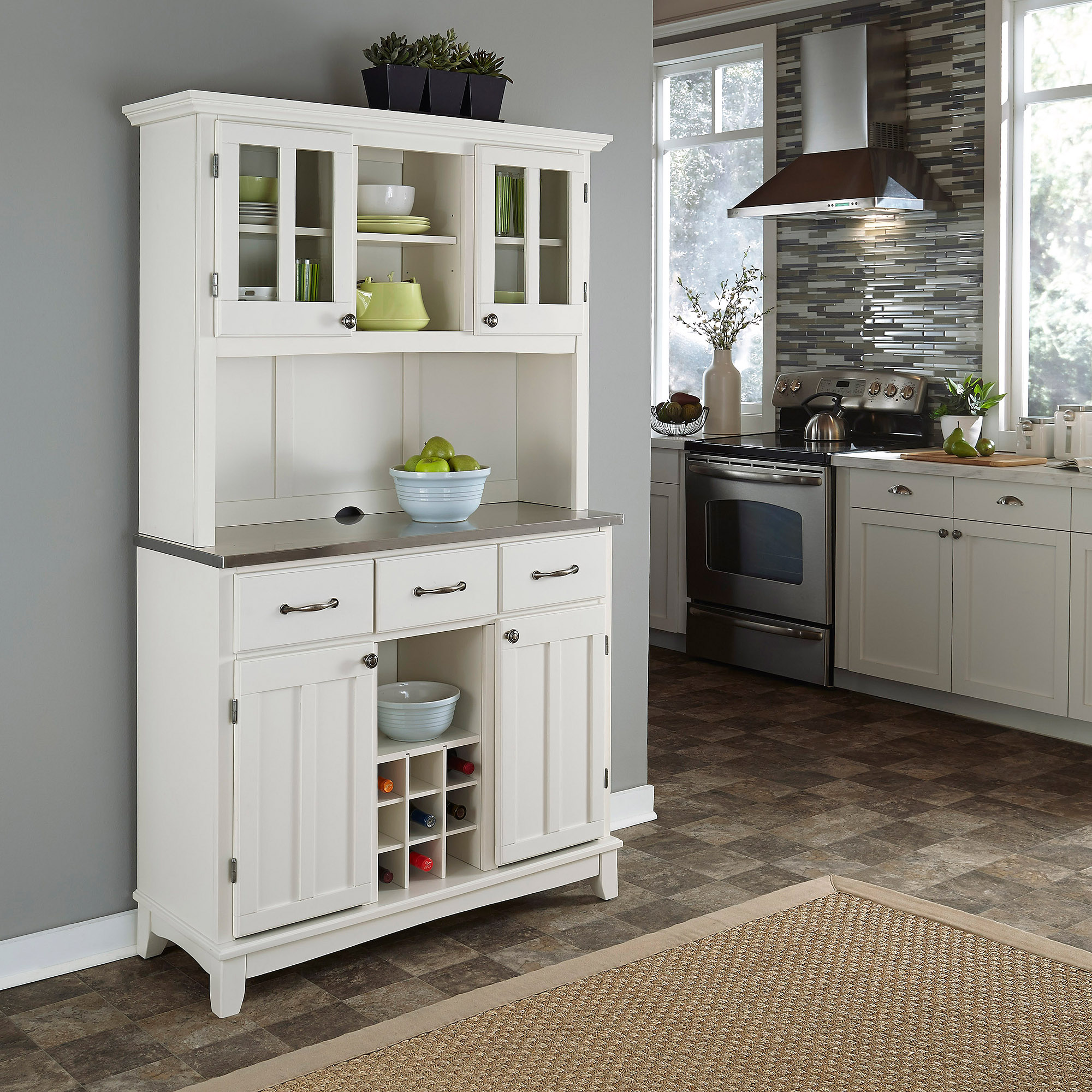 Home Styles Buffet of Buffets with Stainless Top and Hutch