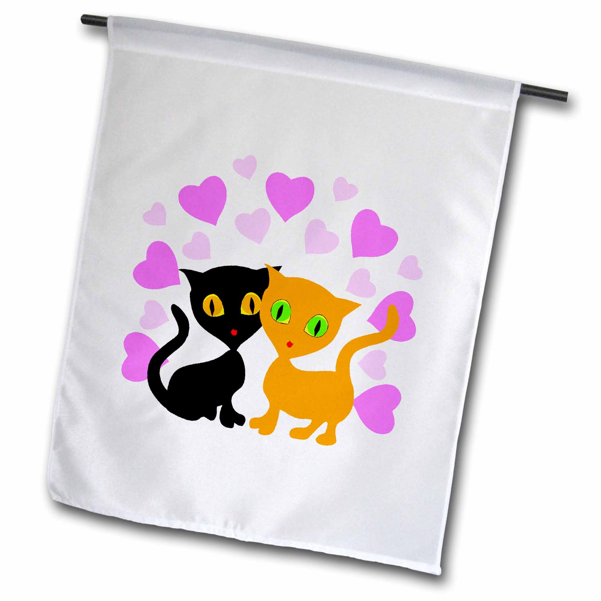 3dRose Cute Valentine Cats with Hearts, Garden Flag, 12 by 18-Inch
