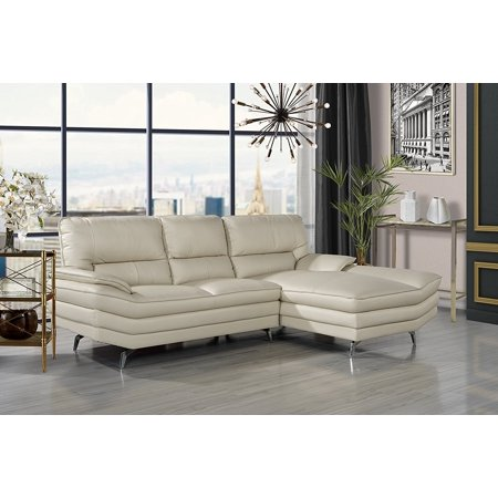 Living Room Leather Sectional Sofa L Shape Couch With Chaise Lounge Beige