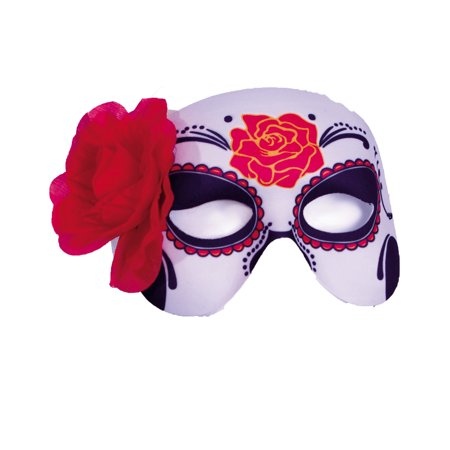 Day Of The Dead Red Rose Adult Womens Sugar Skull Halloween Half Mask - Day Of The Dead Halloween Masks