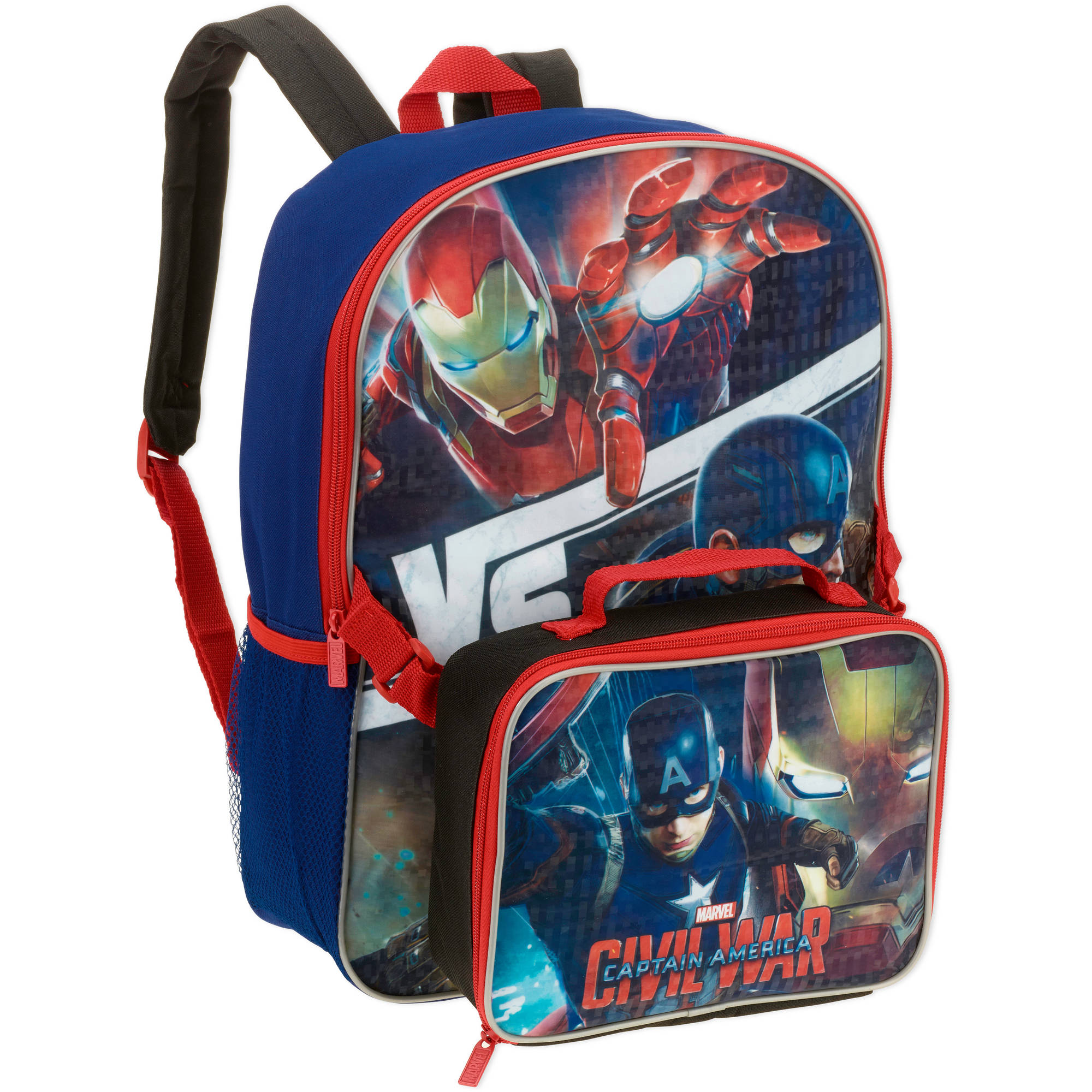 "Captain America 16"" Backpack with Lunch Box"