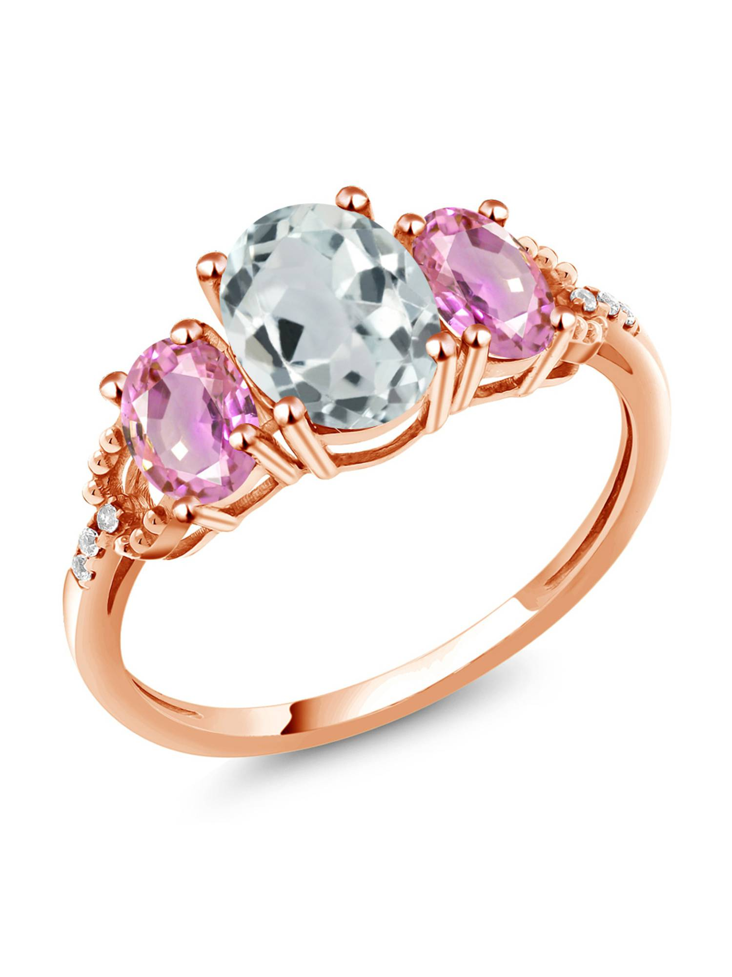 2.24 Ct Oval Sky Blue Aquamarine Pink Sapphire 10K Rose Gold Diamond Accent Ring by