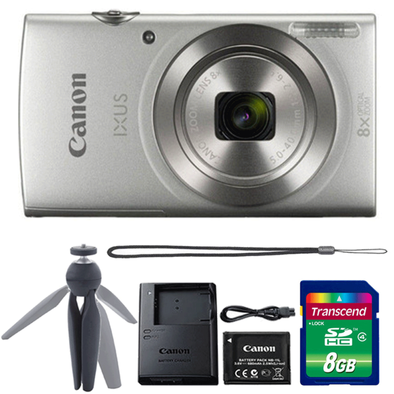 Canon Ixus 185 / Elph 180 20MP Digital Camera 8x Optical Zoom Silver with Accessories