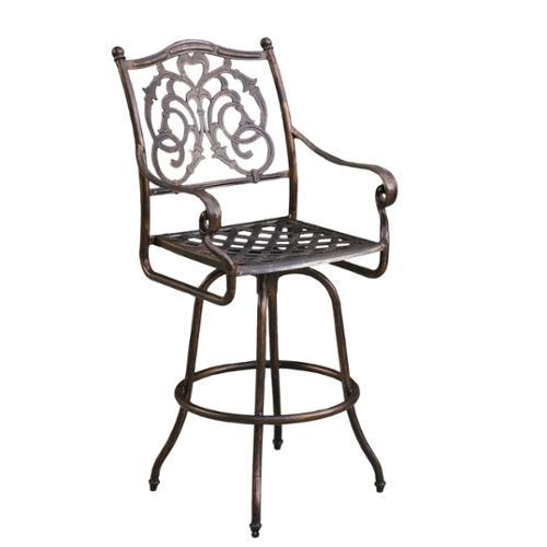 "Denise Austin Home Ridley Cast Aluminum Outdoor 29"" Bar Stool, Single"