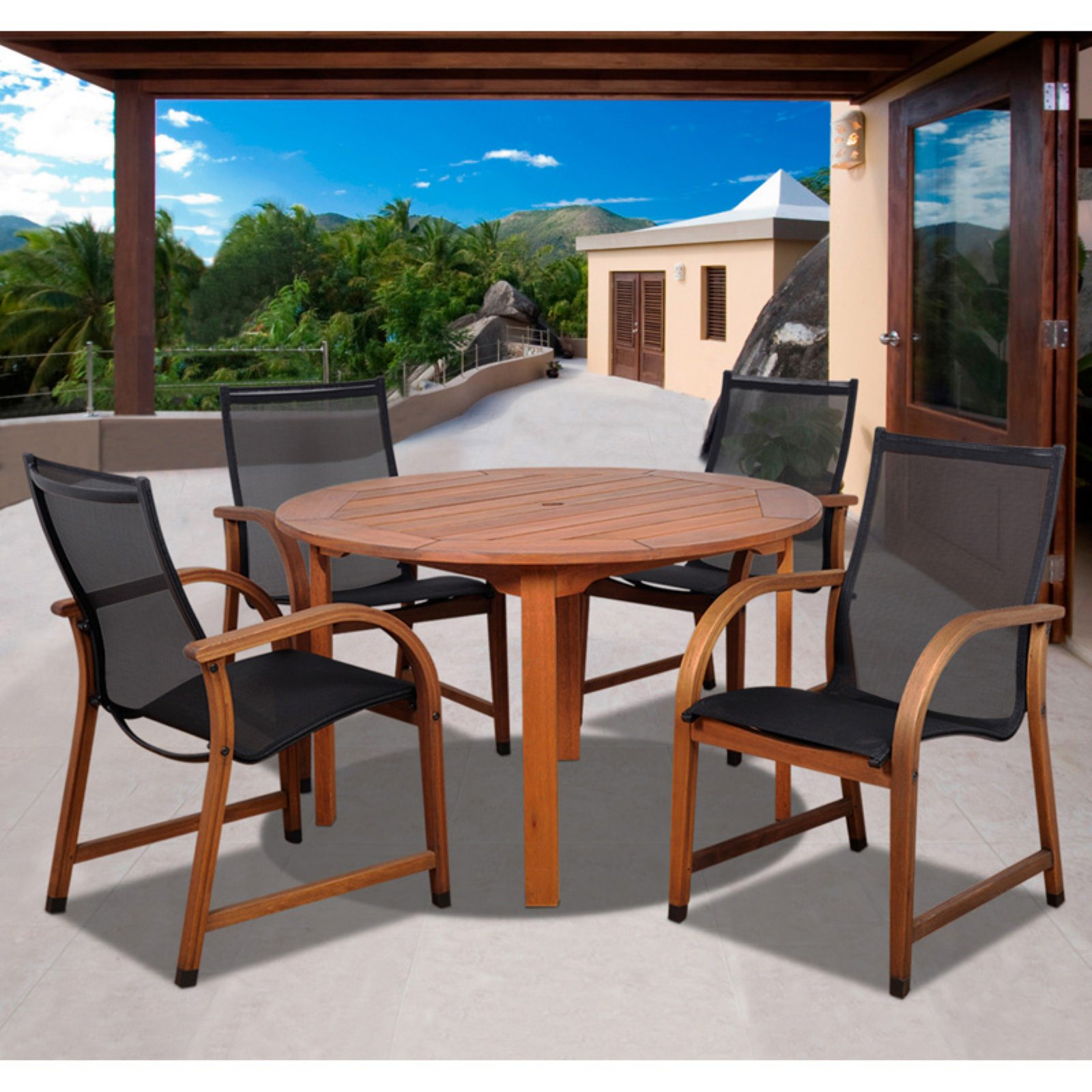 Bahamas 5-Piece Eucalyptus/Black Sling Round Patio Dining Set
