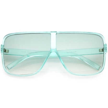 Oversize Translucent Square Sunglasses Flat Top Color Tinted Lens 69mm (Green)