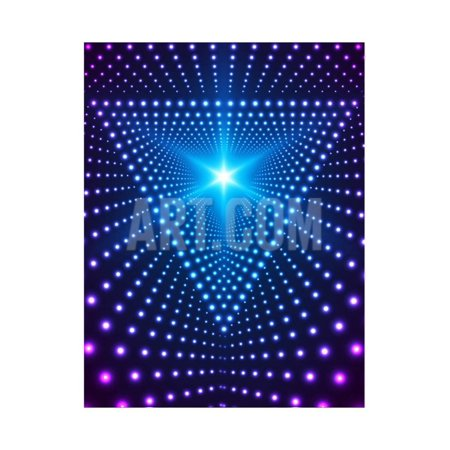 Fluker Lighting - Triangle Border with Light Effects. Concept for Party Flyers, Music Posters and Disco Graphic Desig Print Wall Art By SkillUp