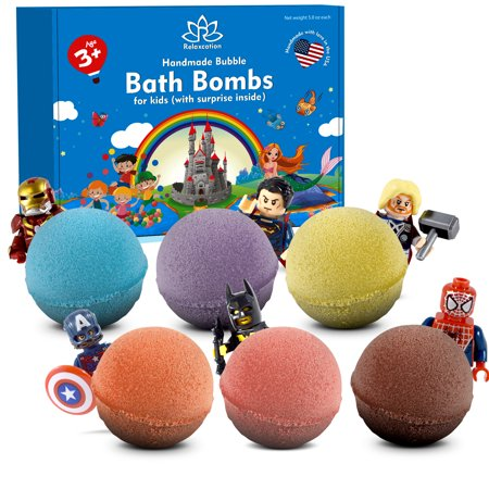 Organic 6 Bath Bombs with Superhero Figures Toys inside for Kids by Relaxcation Brand