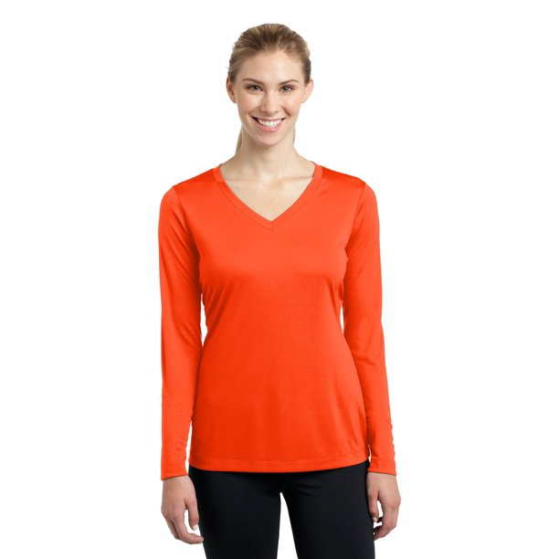 Sport-Tek Ladies Long Sleeve V Neck Polyester Basic Tee Blouse