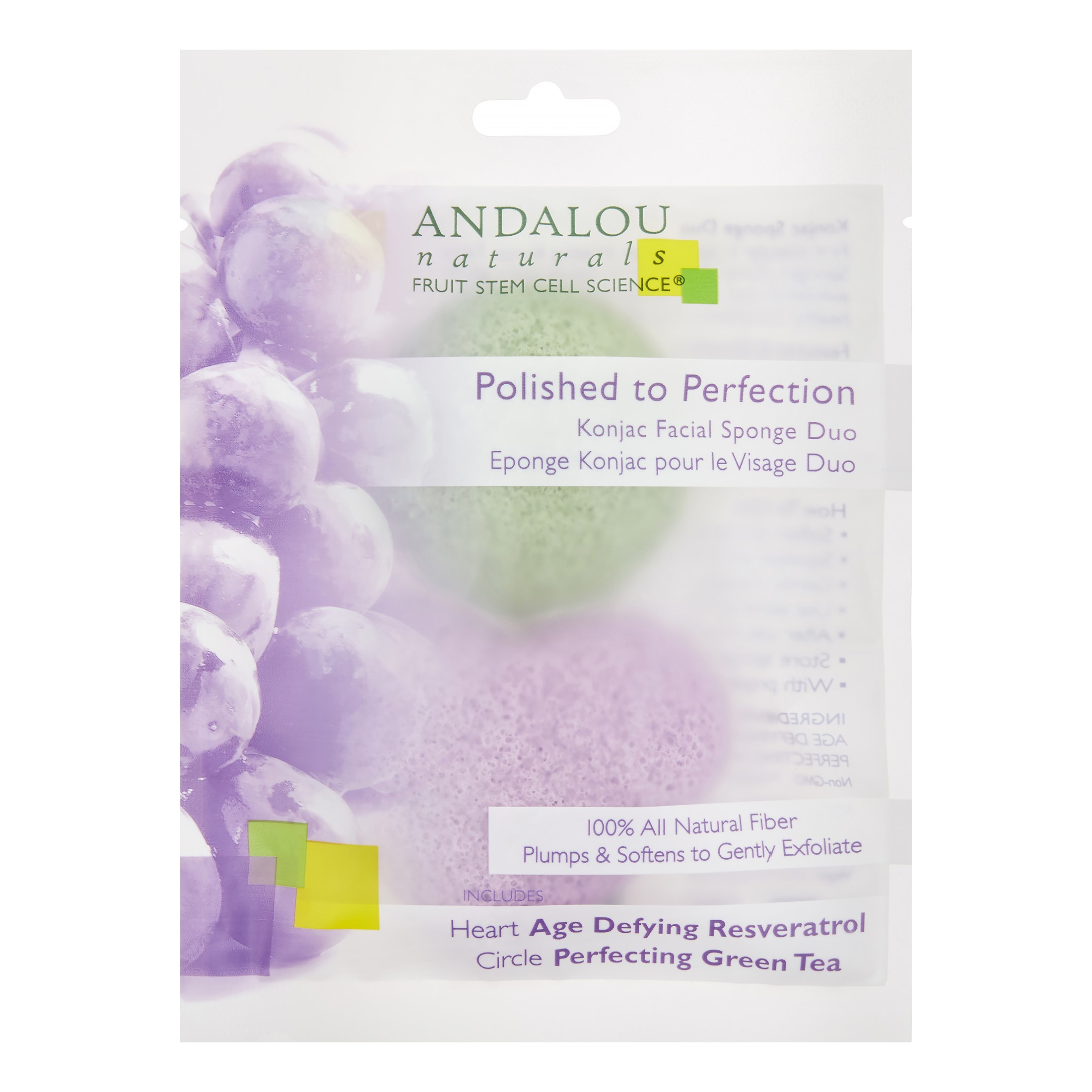 Andalou Naturals Perfection Konjac Facial Sponge Duo, 2 Ct
