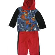 Baby Boys Red Black Superhero Character Hooded 2 Pc Pants Set 12-24M