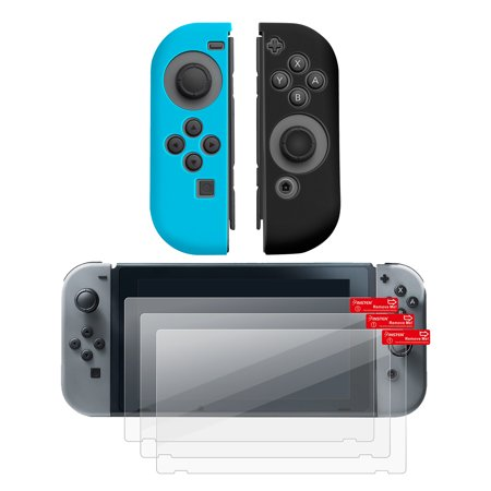 Nintendo Switch Joy-Con case & Screen protector, by Insten (Left BLUE + Right BLACK) Nintendo Switch Joy-Con Cover Anti-Slip Skin + 3-pack LCD Guard For Nintendo Switch Joy Con Left/Right Controller (Left To Right Halloween Story)