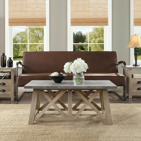 Better Homes & Gardens Granary Modern Farmhouse Coffee Table, Multiple Finishes Living Room Upholstered Table