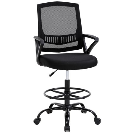Drafting Chair Tall Office Chair Desk Chair Adjustable Height with Lumbar Support Arms Footrest Mid Back Swivel Rolling Executive Mesh Computer Chair for Women Adults Standing Desk, Black ()