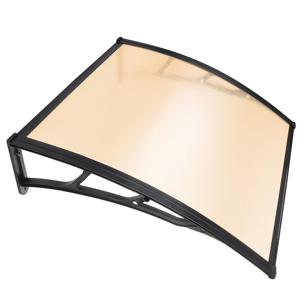 GHP Brown Polycarbonate Sheet Window Door Awning Sun Shade with Black ABS Brackets