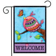 """Welcome Friend Spring Bird Garden Flag Primitive 12.5"""" x 18"""""""