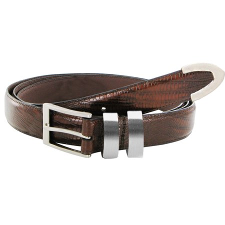 Italian Brown Lizard Texture Leather Belt w/ Silver Accents (Size 58/60)