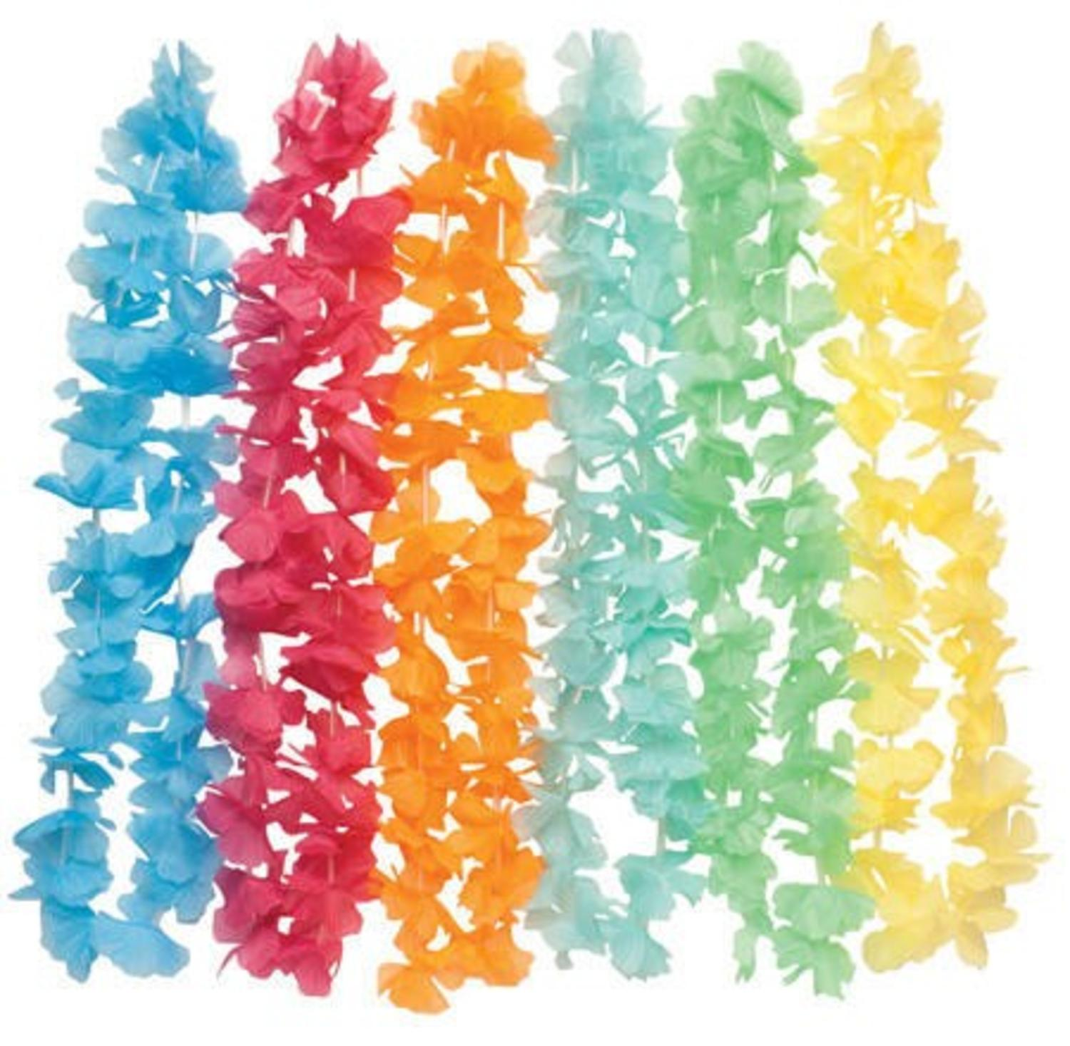 Club Pack of 80 Multi-Colored Tropical Lei Necklaces 17""