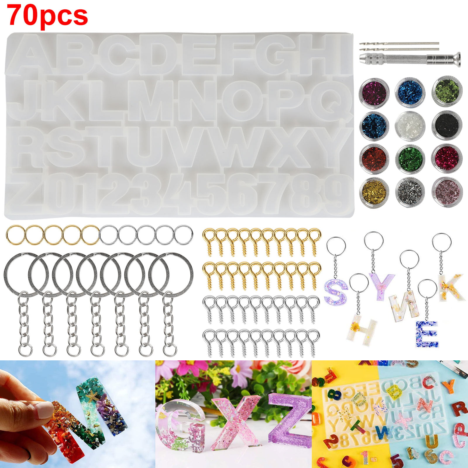 Tsv 70pcs Resin Casting Alphabet Mold Letter Number Silicone Molds Epoxy Molds And Tools Set For Diy Jewelry Keychain Making Backwards Letter Number Craft Casting Molds Set Kit Unique Creative Gift