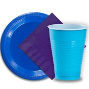 """50 Dark Blue Plastic Plates (9""""), 50 Aqua Plastic Cups (12 oz.), and 50 Purple Paper Napkins, Dazzelling Colored Disposable Party Supplies Tableware Set for Fifty Guests."""