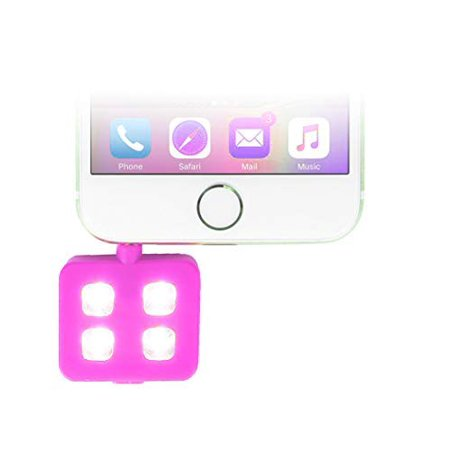 Universal 4-LED Flash Selfie Adapter w/ 3 Light Settings, Low, Bright, Ultra Bright, No Red Eyes, USB Cable, 3.5mm Aux Input iPhone Ipad Samsung Android (Must Have Aux Port) (Pink