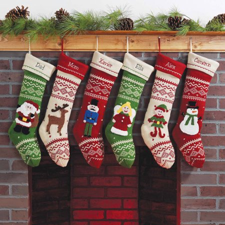 personalized knit character christmas stocking available in 6 styles