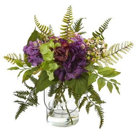 Berry Arrangement - Nearly Natural 14 in. Hydrangea & Berry Artificial Arrangement