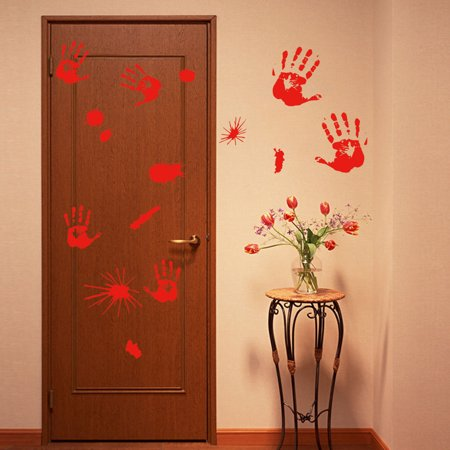 Halloween Bloody Handprint Footprint Sticking Wall Sticker Horror PVC Decoration