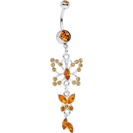 Body Candy Stainless Steel Orange Double Butterfly Dangle Belly (Butterfly Dangling Belly Ring)