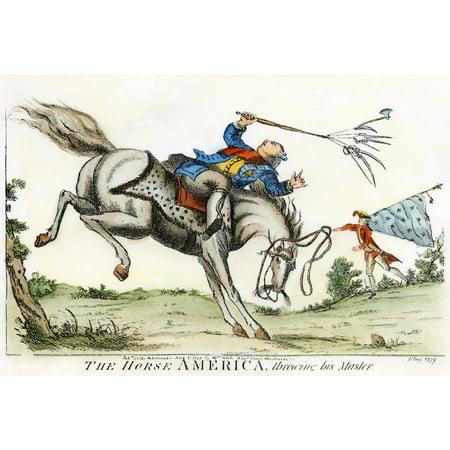 Cartoon Revolutionary War 1779 The Horse America Throwing His Master An English Satirical Cartoon Predicting The Outcome Of The American Revolutionary War Cartoon 1779 Rolled Canvas Art -  (24 x 36)
