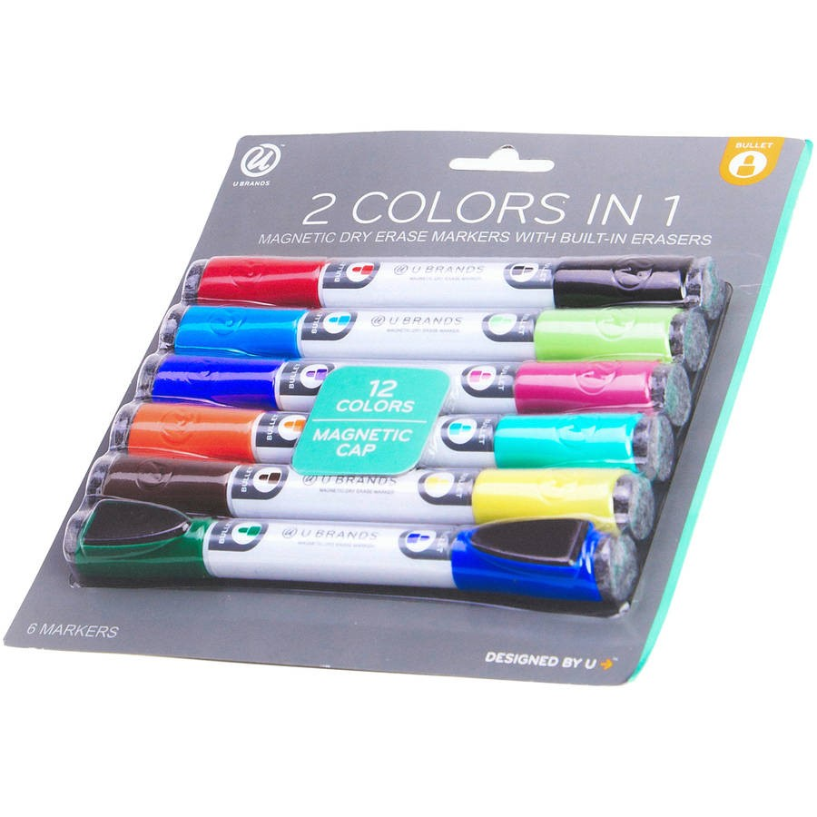 U Brands Magnetic Double End Dry Erase Markers, Assorted Colors 6ct