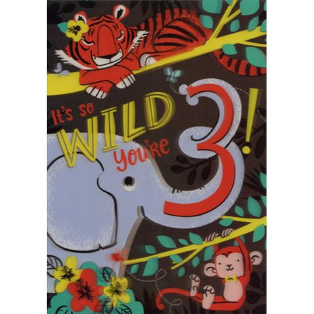 3d Lenticular Business Card (Designer Greetings Tiger, Elephant and Monkey 3D Lenticular Motion Age 3 / 3rd Birthday Card)