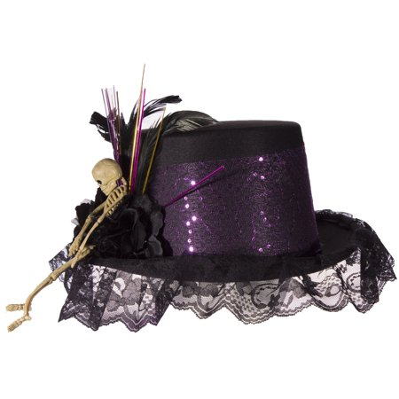 Costume Accessory - Felt Top Hat with Lace, Feathers and Skeleton - Top Hat Costume