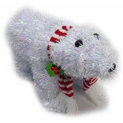 DONGGUAN CITY JIANSHU INDUSTRIAL LIMITED Holiday Time Christmas Decor 11 Tinsel Polar Bear, Opal