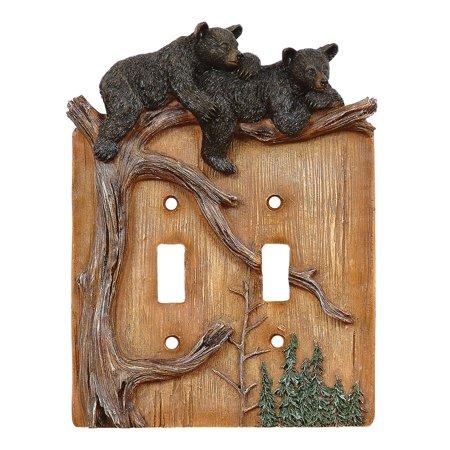 Climbing Bears Double Switch Plate - Lodge Decor