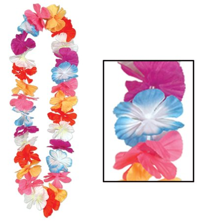 Pack of 12 Hawaiian Luau Rainbow Color Tropical Beach Party Flower Lei Necklaces 36
