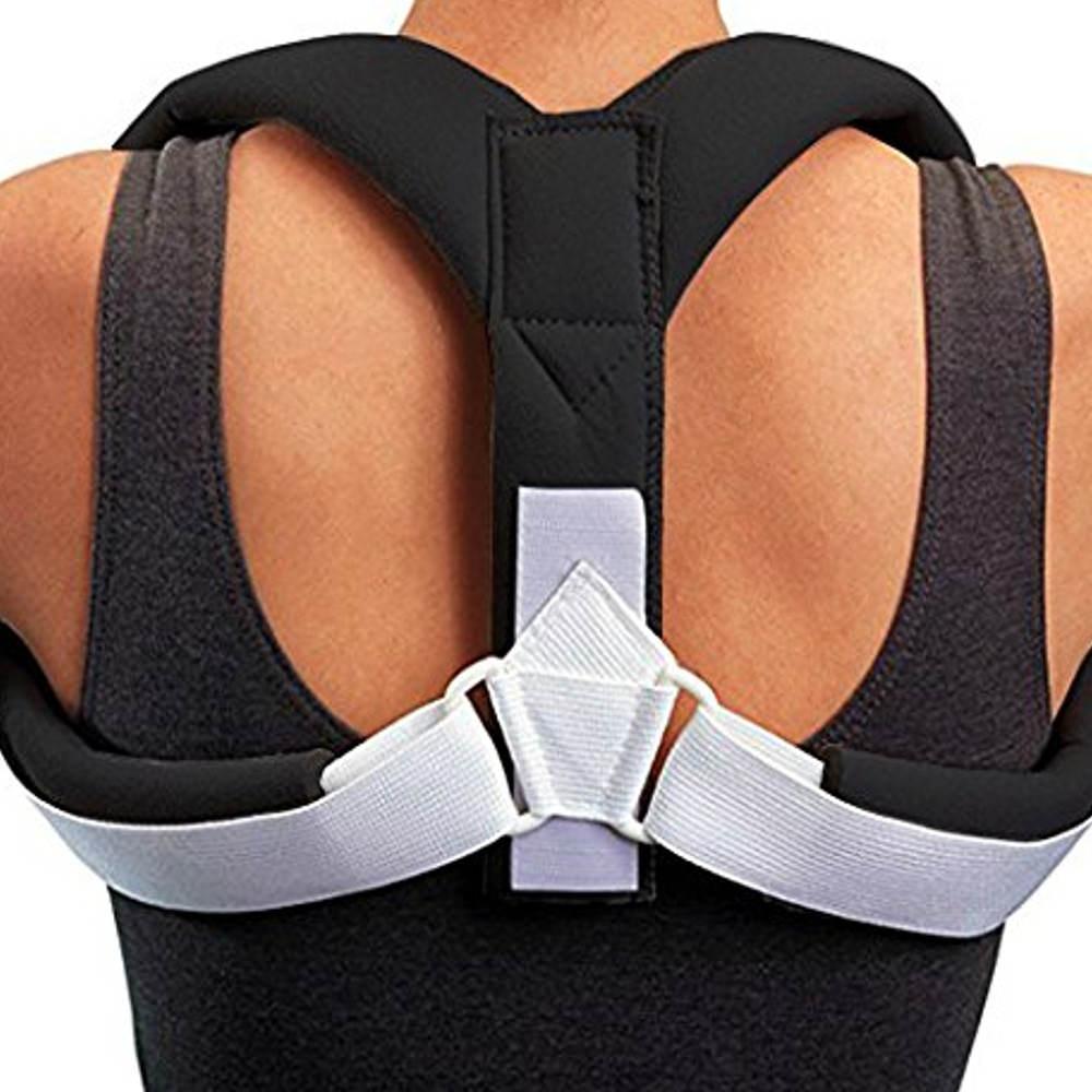 Men's Upper Lumbar Hunchback Corrective Back Strap Adjustable Posture Correction - Black