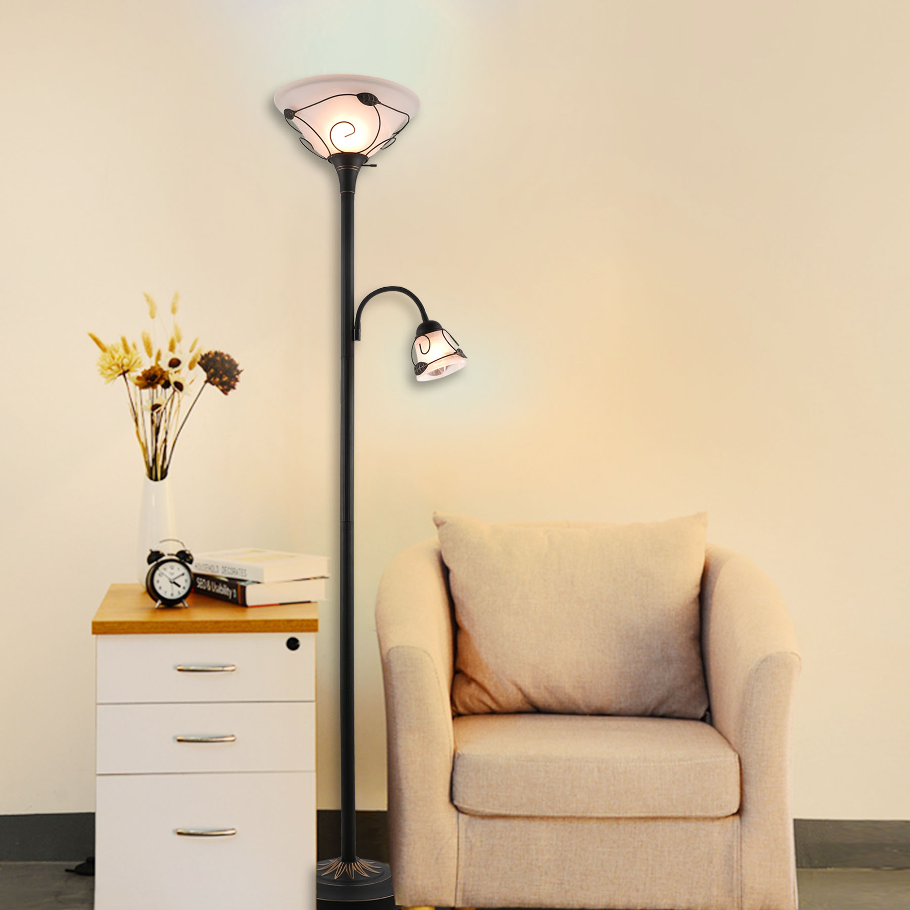 Torchiere Floor Lamp w/ Side Reading Lamp Dark-bronze Painted Finish ETL Listed