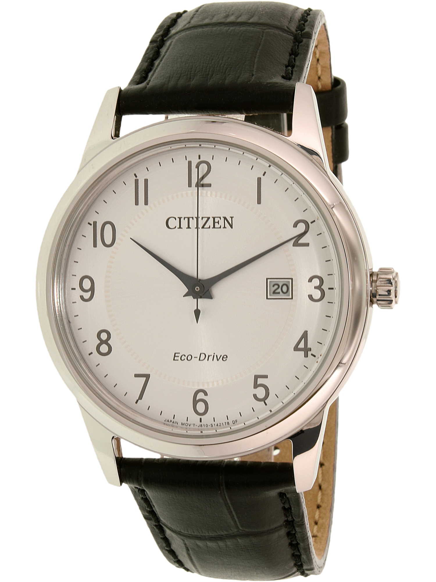 Men's Eco-Drive AW1231-07A Black Leather Dress Watch