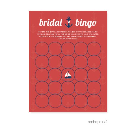 Bridal Shower Bingo  Nautical Ocean Adventure Wedding Bridal Shower Game Cards, 20-Pack](Wedding Bingo)