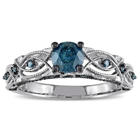 10k White Gold 4/5ct TDW Blue Diamond Vintage Filigree Engagement Ring