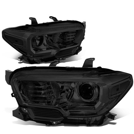 For 2016 to 2018 toyota Tacoma Pair Smoked Housing Clear Corner Projector Headlight / Headlamp Set (Clear Headlight Set)