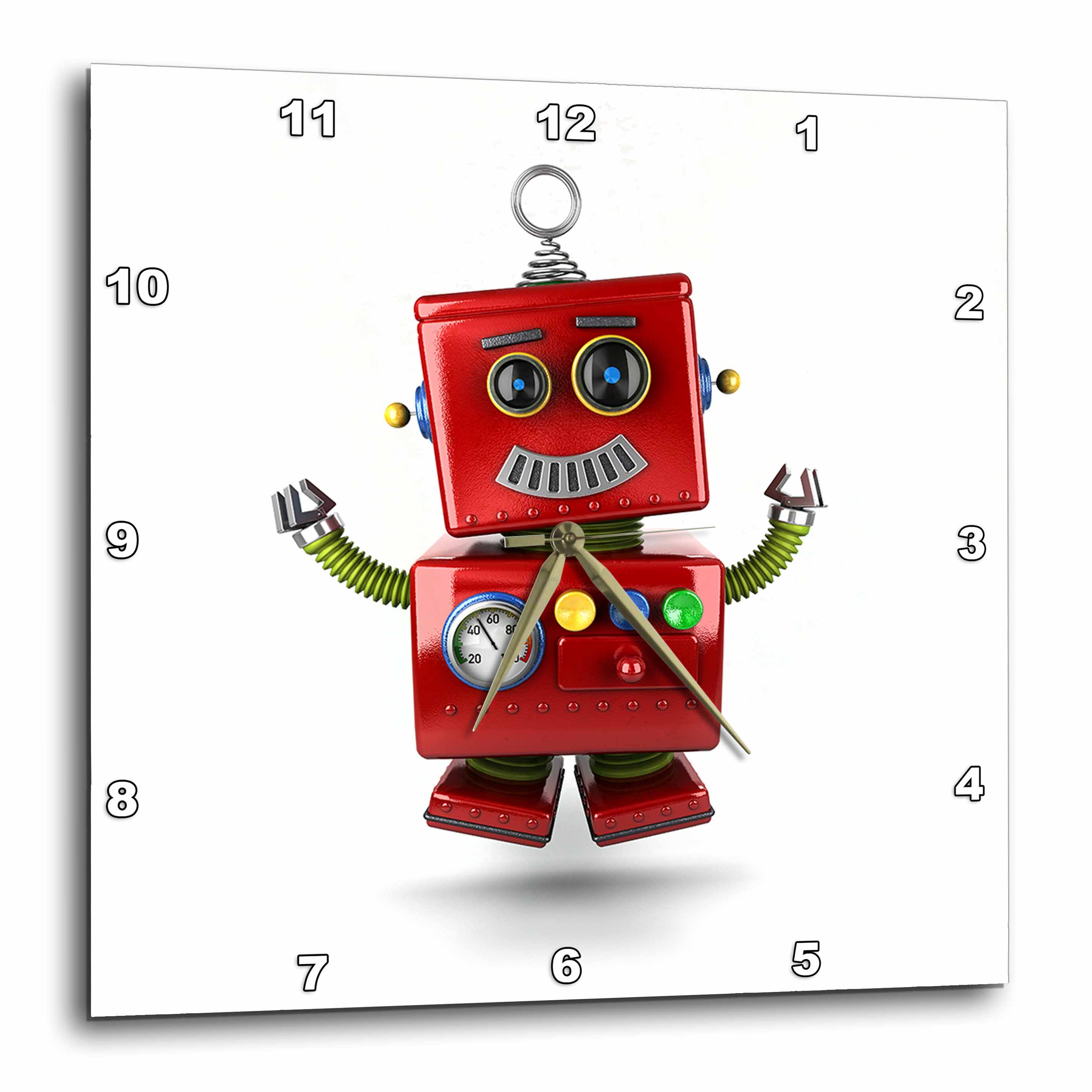 3dRose Happy vintage toy robot jumping of joy cute funny, Wall Clock, 10 by 10-inch
