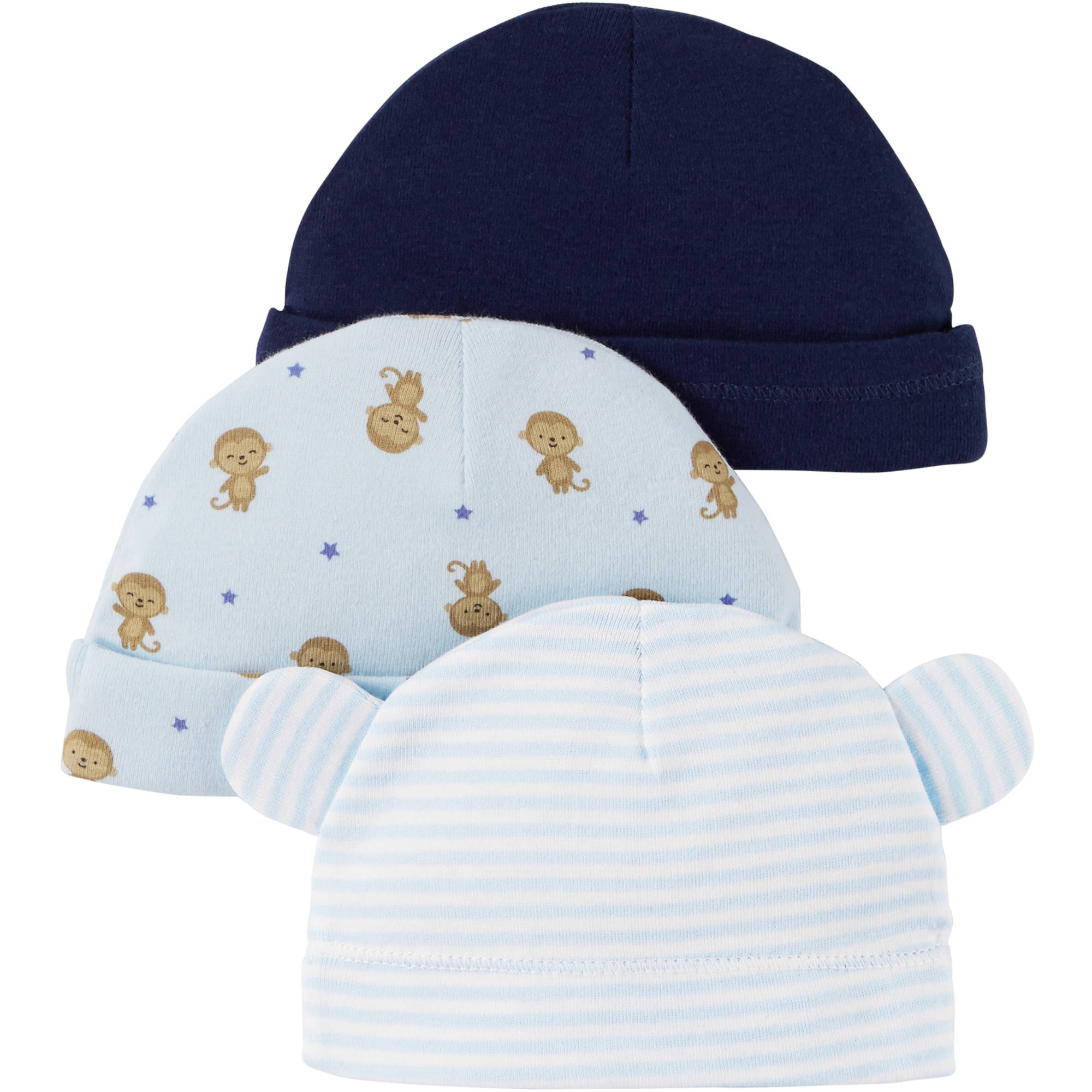 Child Of Mine by Carter's Newborn Baby Boy Caps, 3-Pack