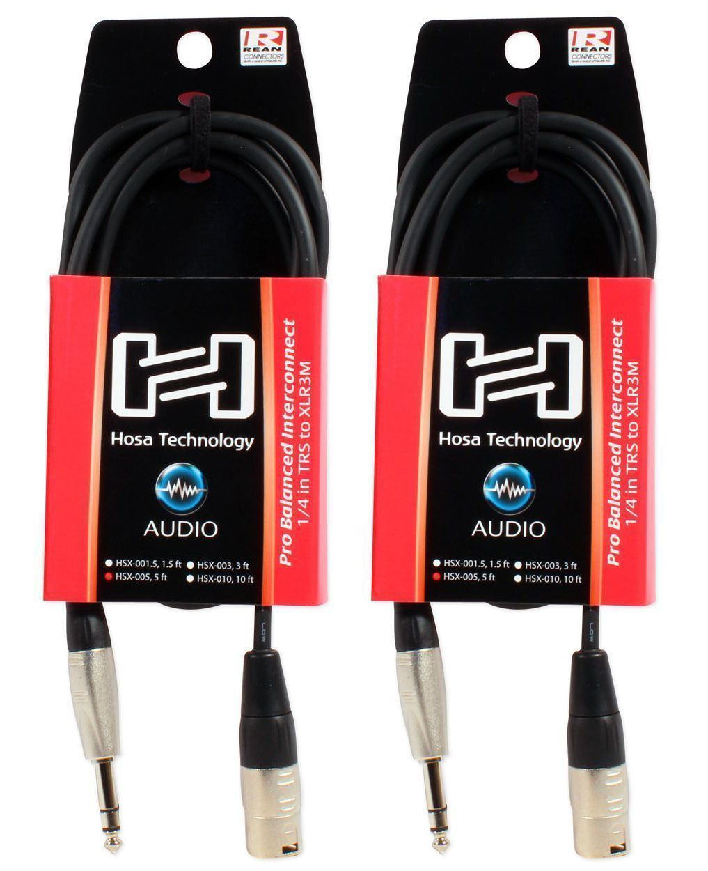 """2 Hosa HSX-005 5 Foot Rean 1 4"""" TRS To XLR 3 Pin Male Speaker Cables by Hosa"""