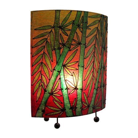 Tropical Colored Lucky Bamboo Oval Table Lamp ()