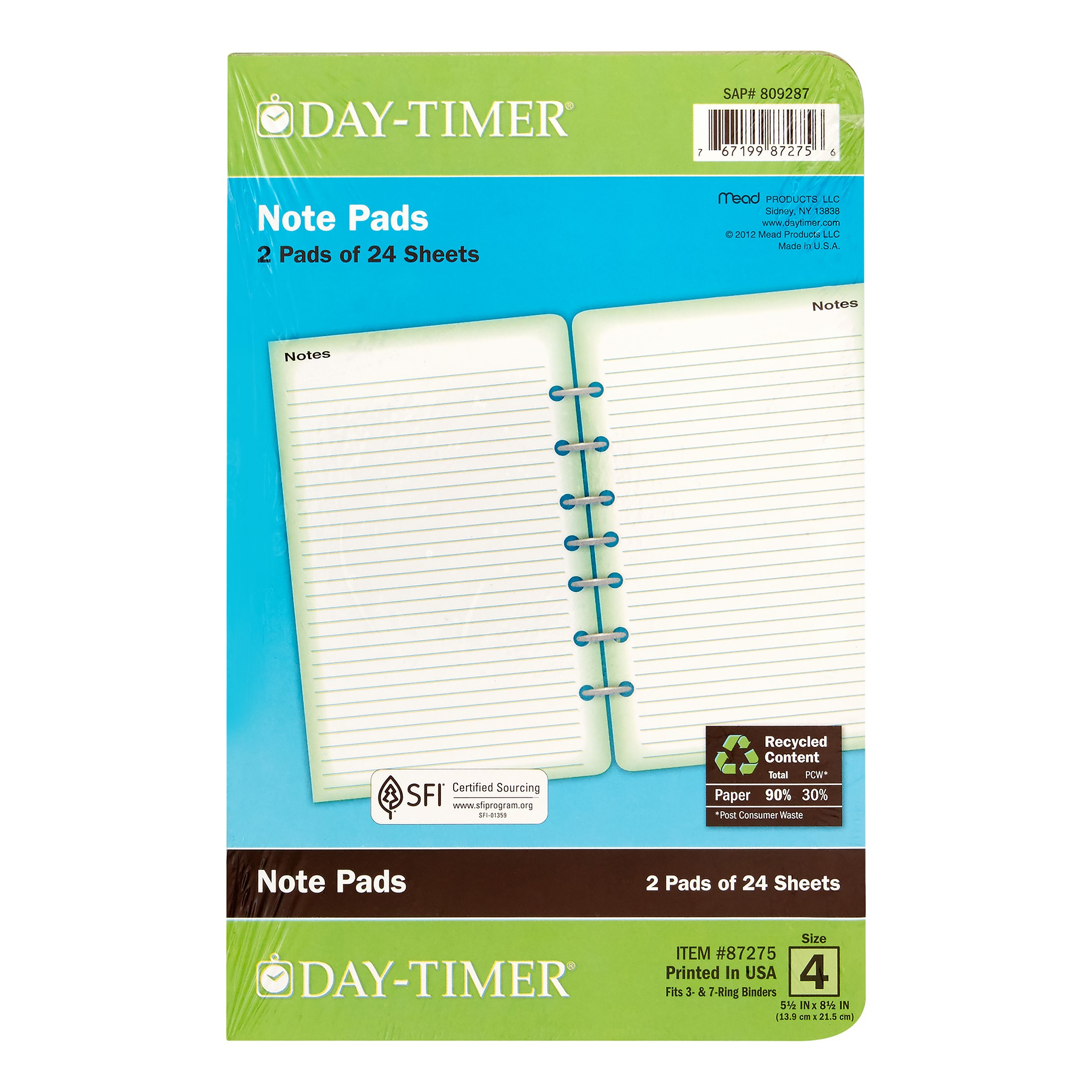 "Day-Timer Notepad, Desk Size, 5 ?"" x 8 ?"", 2 Pack"