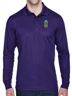 e004b083a975 Product Image Mens Pineapple Patch Long Sleeve Polo Shirt - Purple, Large