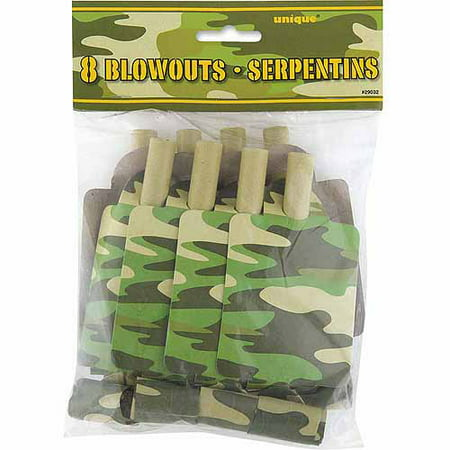 Camo Party Blowers, 8-Count